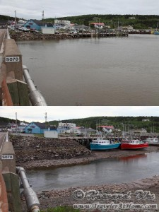 Bay of Fundy at high tide and low tide
